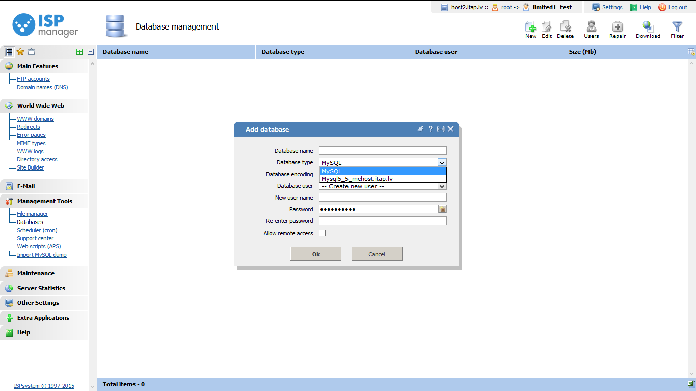 MySQL Servera izvēle